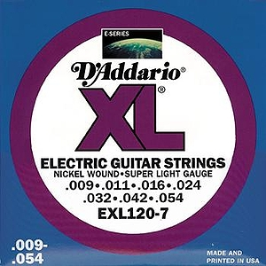 D'Addario EXL1207 7-string Electric Guitar Strings - Nickel Round Wound, Super Light, 3 Sets