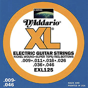 D'Addario XL Electric Guitar Strings - Super Light Tops/Regular Bottoms, Environmental Packaging - Box of 10 sets