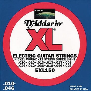 D'Addario EXL150 Electric 12-string Guitar Strings - Nickel Round Wound, Super Light, 3 Sets