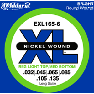 D'Addario EXL1656 Nickel Round Wound Electric 6-String Bass Strings - Regular Light Top/Medium Bottom