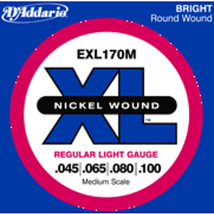D'Addario EXL170M XL Nickel Round Wound Bass Strings - Regular Light