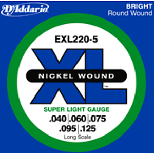 D'Addario EXL2205 Nickel Round Wound Electric 5-String Bass Strings - Super Light Gauge
