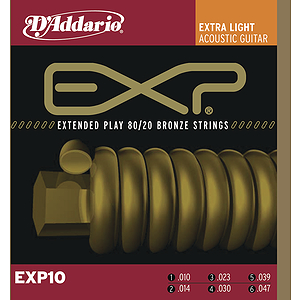 D'Addario EXP10 Bronze Acoustic Guitar Strings - Extra Light - 3 Sets