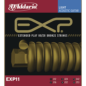 D'Addario EXP11 Bronze Acoustic Guitar Strings - Light - 3 Sets