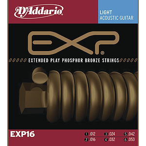 D'Addario EXP16 Acoustic Guitar Strings - Coated Phosphor Bronze, Light, 3 Sets