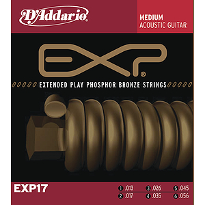 D'Addario EXP17 Acoustic Guitar Strings - Coated Phosphor Bronze, Medium, 3 Sets