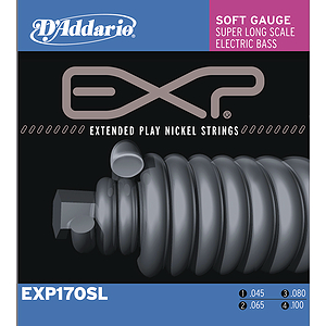 D&#039;Addario EXP170SL Bass Strings - Coated Nickel Round Wound, Soft Super Long, 1 set