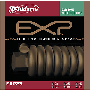 D&#039;Addario EXP23 Phosphor Bronze Baritone Acoustic Guitar Strings - Medium Gauge - 3 Sets