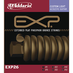 D'Addario EXP26 Acoustic Guitar Strings - Coated Phosphor Bronze, Custom Light, 3 Sets