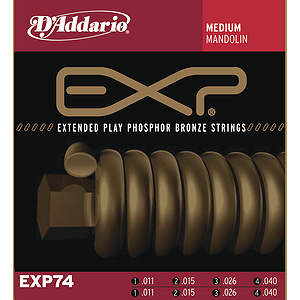 D&#039;Addario EXP74 Mandolin Strings - Coated Phosphor Bronze, Medium, 3 Sets