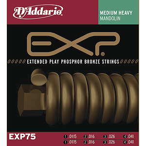 D'Addario EXP75 Mandolin Strings - Coated Bronze, Medium Heavy, 3 Sets