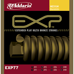 D'Addario EXP Coated Phosphor Bronze Round Wound Mandolin Strings - Medium