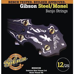 Gibson Stainless Steel Banjo Strings - Medium, 3 Sets