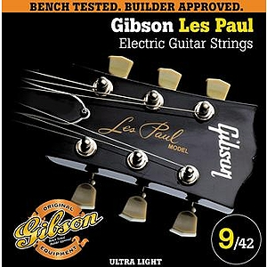 Gibson Les Paul Electric Guitar Strings - Ultra Light, 3 Sets