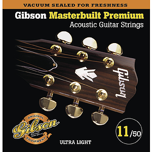 Gibson Masterbuilt Premium Acoustic Guitar Strings - Ultra Light, 3 Sets