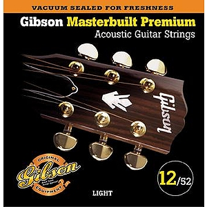 Gibson Masterbuilt Premium Acoustic Guitar Strings - Light, 3 Sets