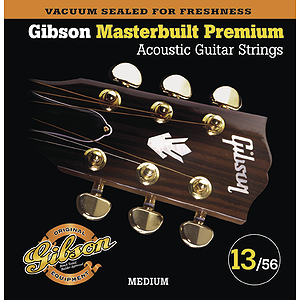 Gibson Masterbuilt Premium Acoustic Guitar Strings - Medium, 3 Sets