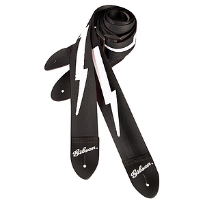 "Gibson 2"" Lightning Bolt Guitar Strap - Black"