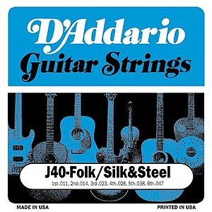 D'Addario J40 Silk & Steel Folk Acoustic Guitar Strings - Silverplated, 3 Sets