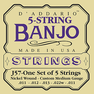 D'Addario J57 5-String Banjo Custom Medium Banjo Strings - 3 Sets