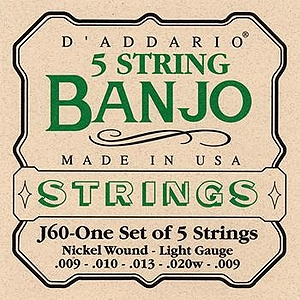 D'Addario J60 5-string Banjo Strings - Light, 3 Sets