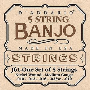 D'Addario J61 5-string Banjo Strings - Medium, 3 Sets