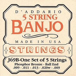 D'Addario J69B Banjo Strings - Ball-end, 3 Sets