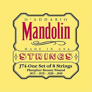 D'Addario J74 Mandolin Strings - Phosphor Bronze, Medium, 3 Sets