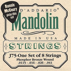 D&#039;Addario J75 Mandolin Strings - Phosphor Bronze, Medium Heavy, 3 Sets