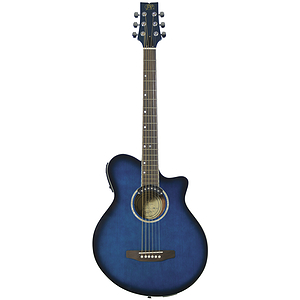 J.B. Player JBEA35TBL Realm Series Acoustic-Electric Guitar - Transparent Blue