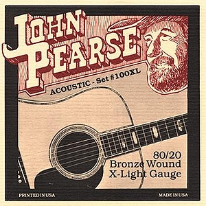 John Pearse 80/20 Bell Bronze Acoustic Guitar Strings - Extra Light, 3 Sets