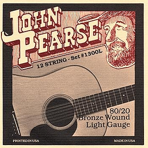 John Pearse 80/20 Bell Bronze 12-string Acoustic Guitar Strings - Light, 3 Sets