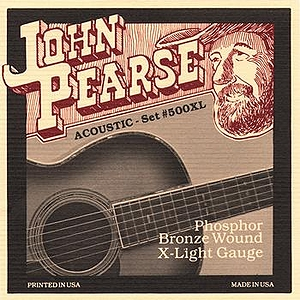John Pearse Phosphor Bronze Acoustic Guitar Strings - Extra Light, 3 Sets