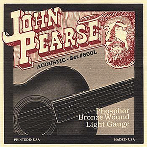 John Pearse Phosphor Bronze Acoustic Guitar Strings - Light, 3 Sets