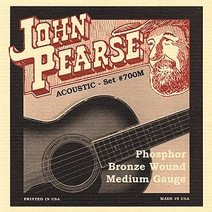 John Pearse Phosphor Bronze Acoustic Guitar Strings - Medium, 3 Sets