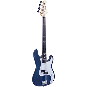 J. Reynolds JR7TBL Electric Bass Guitar - Transparent Blue