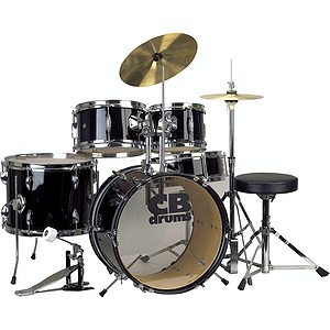 CB Drums JRX55-PK-BK 5-piece Junior Drum Set - Black