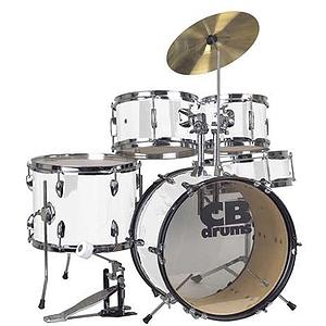 CB Drums JRX55-PK-WH 5-piece Junior Drum Set - White