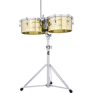 "Latin Percussion LP256-B Tito Puente Brass Timbales, 13"" & 14"""