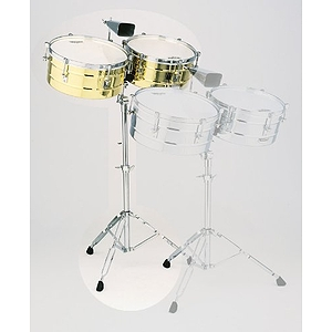 "Latin Percussion LP257-B Tito Puente Brass Timbales, 14"" & 15"""
