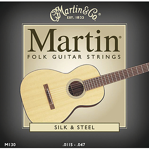 Martin Folk Guitar Silk & Steel Round Wound Acoustic Strings - 3 sets of strings