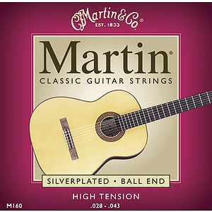Martin Nylon Classical Guitar Strings - Silverplated Ball End High Tension - 3 sets of strings