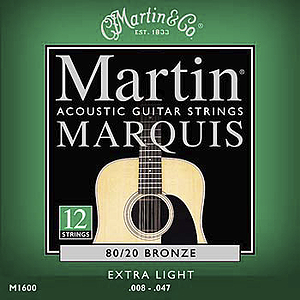 Martin Marquis 12-String 80/20 Bronze Extra Light Acoustic Strings - 3 sets of strings