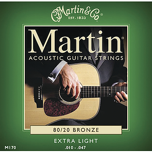Martin 80/20 Bronze Round Wound Extra Light Acoustic Strings  - 3 sets of strings