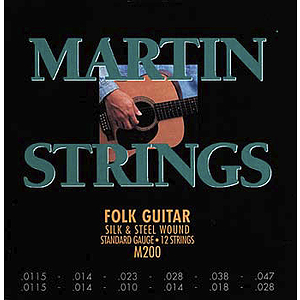 Martin Folk 12-String Silk &amp; Steel Round Wound Acoustic Strings - Box of 12 sets