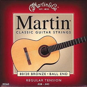 Martin 260 Classical Nylon Guitar Strings - Bronze Wound, Ball End, Regular Tension, 3 Sets