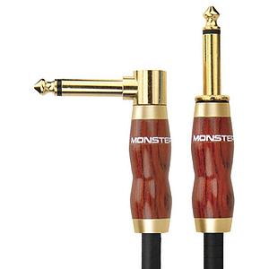 """Monster Acoustic Instrument Cable - 12' angled to straight 1/4"""" plugs"""