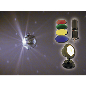 "MBT 8"" Mirror Ball Package w/motor and pin spot"