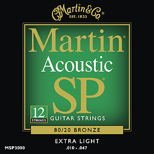 Martin SP 3000 Acoustic Guitar Strings - 80/20 Bronze Wound, Extra Light, 3 Sets