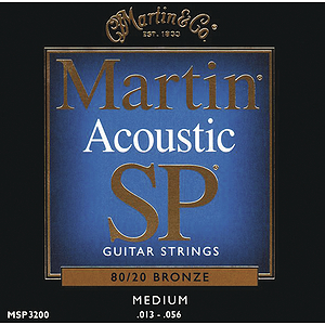 Martin SP 3200 Acoustic Guitar Strings - 80/20 Bronze Wound, Medium, 3 Sets